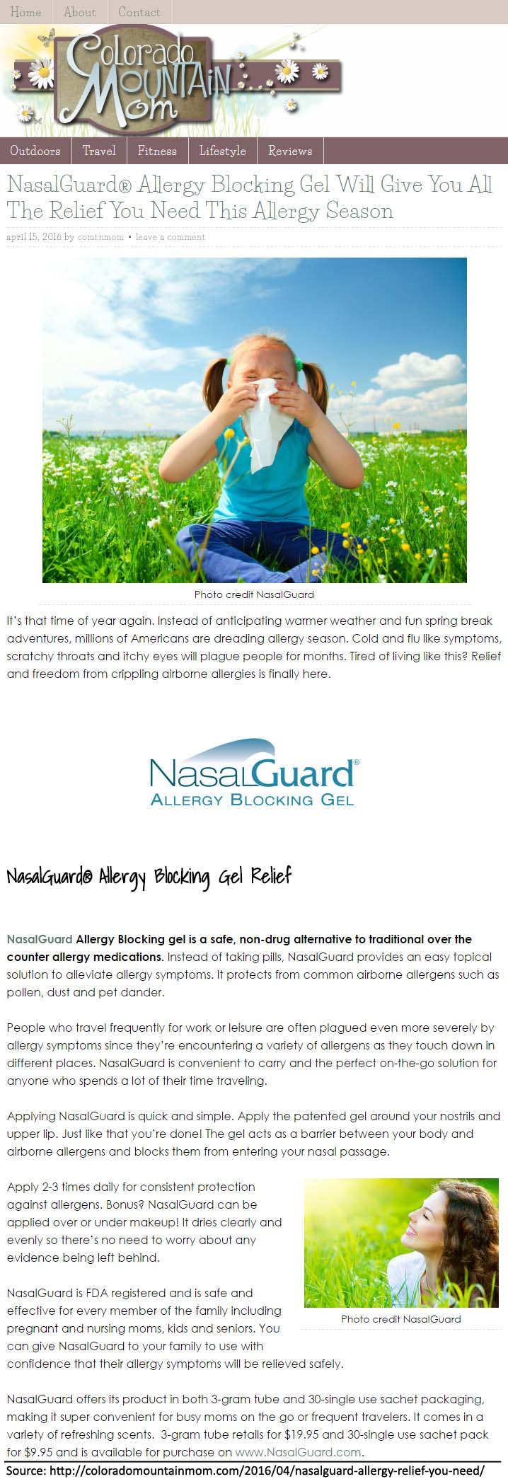 NasalGuard feature on Colorado Mountain Mom